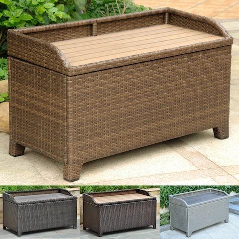 International Caravan Barcelona Resin Wicker/Aluminum Outdoor Storage Bench