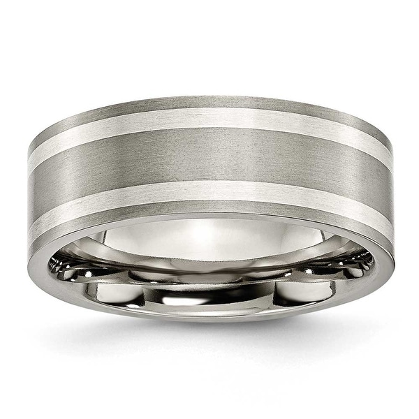 Chisel Sterling Silver Inlaid Flat Brushed Titanium Ring (8.0 mm) - Sizes 6-13