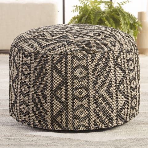 """Madsen Indoor/ Outdoor Tribal Black/ Light Taupe Cylinder Pouf - 24""""X24""""X13"""""""