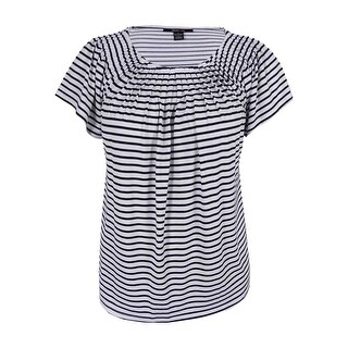 Style & Co. Women's Striped Pleated Top - l