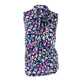 Nine West Woman's Plus Size Printed Tie-Neck Blouse (2X, Orchid Multi) - orchid multi - 2x