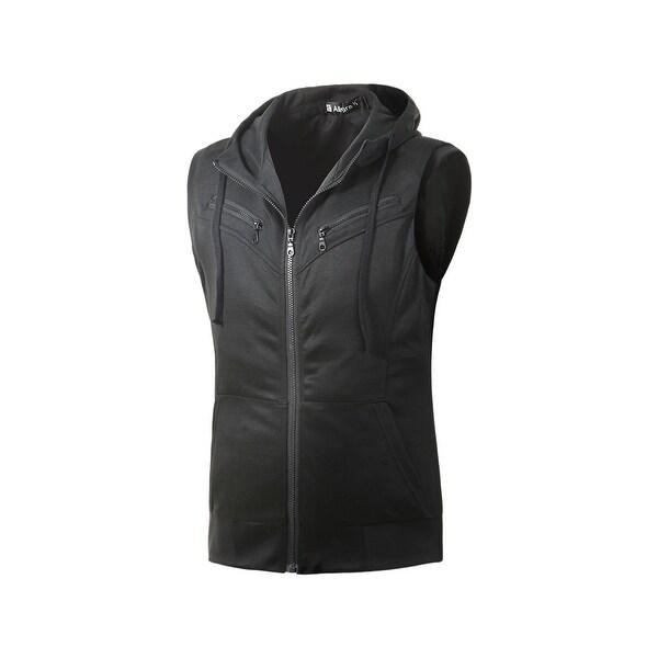1411B M02 Men Kangaroo Pocket Zip Up Drawstring Hooded Vest