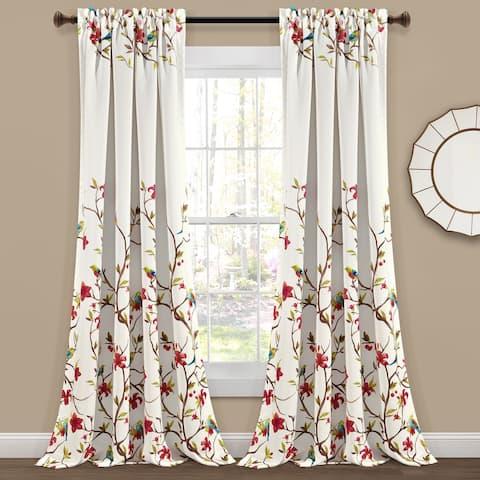 Lush Decor Neela Birds Room Darkening Window Curtain Panel Pair