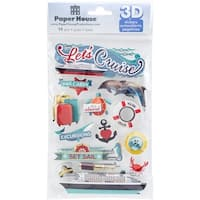 """Paper House 3D Stickers 4.5""""X7.5"""" -Let's Cruise"""