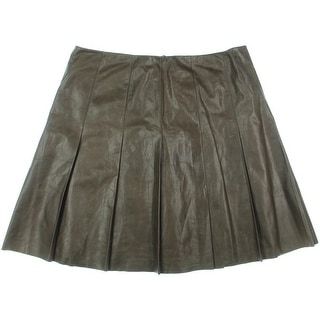 Lafayette 148 New York Womens Leather Pleated A-Line Skirt