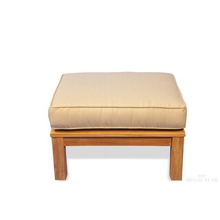 """27.75"""" Natural Teak Deep Seating Outdoor Patio Ottoman with Beige Cushion"""