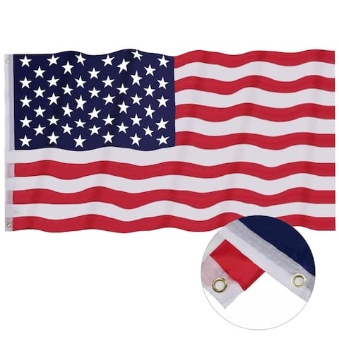 Costway 3' x 5' FT USA US U.S. American Flag Polyester Stars Brass