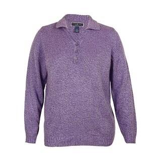 Karen Scott Women's Marled Henley Collar Relaxed Fit Sweater