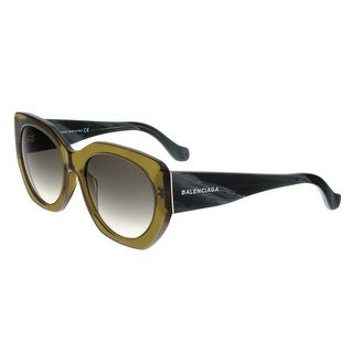 Balenciaga BA0017 96B Olive Green/Black Horn Full-Rim Cat Eye Sunglasses - 57-20-140