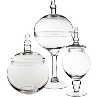 CYS Candy Buffet Apothecary Glass Jars/Vase Container, Set of 3