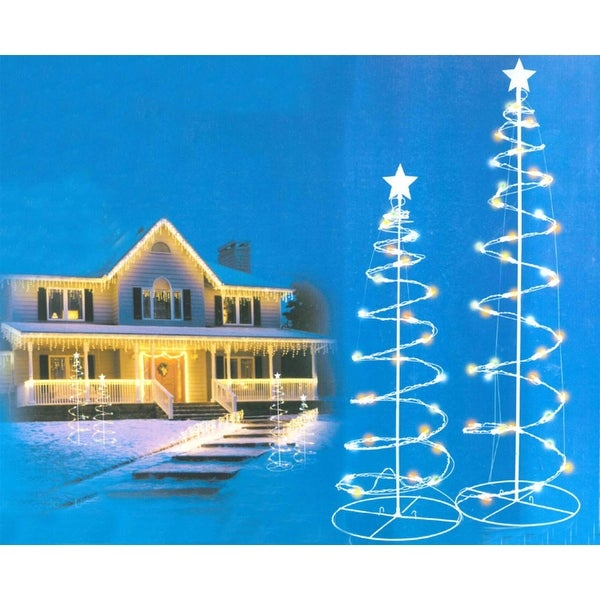 Set of 2 Multi-Color LED Lighted Spiral Christmas Trees Outdoor Decorations 3', 4' - multi