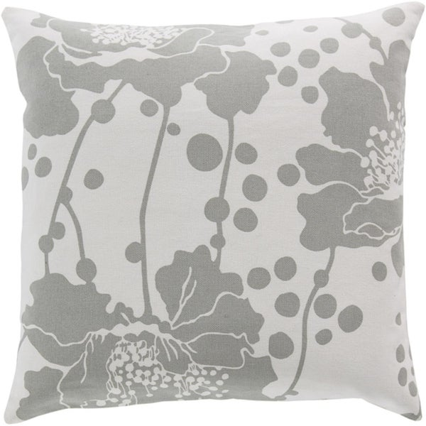 "20"" Genereux Flora Light Gray and White Decorative Square Throw Pillow"