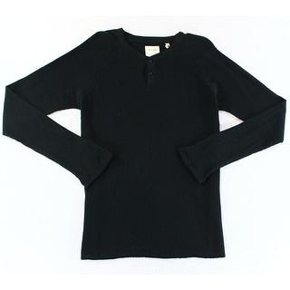 BILLY REID NEW Black Mens Size 2XL Waffle Knit Thermal Henley Shirt