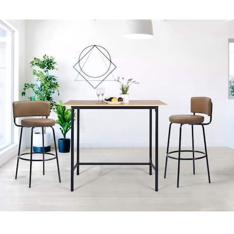 FurnitureR Modern Industrial Faux Leather High Bar Stool (Set of 2)