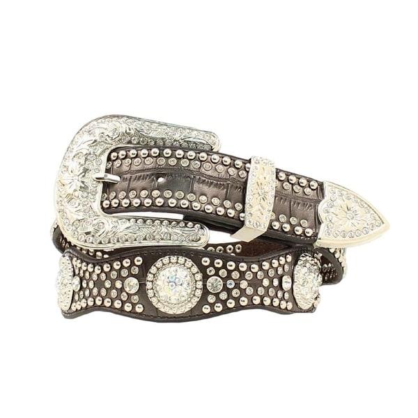 Nocona Western Belt Womens Leather Crystal Concho Gator Black