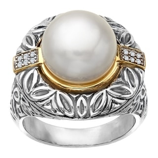 Pearl Medallion Ring with Diamonds in Sterling Silver and 14K Gold