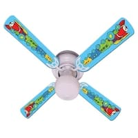 Blue Red Engine Train Print Blades 42in Ceiling Fan Light Kit - Multi