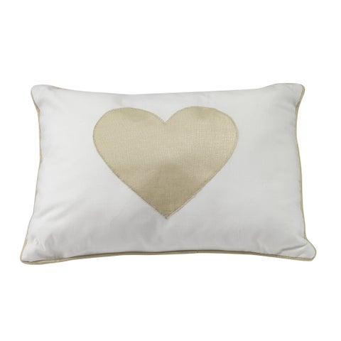 Lambs & Ivy Dawn Pillow - Gold, White, Love, Hearts, Modern, Girl