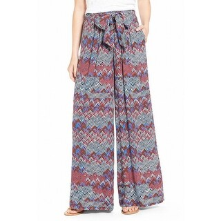 Ella Moss NEW Blue Womens Size Small S Stretch Wide Leg Printed Pants
