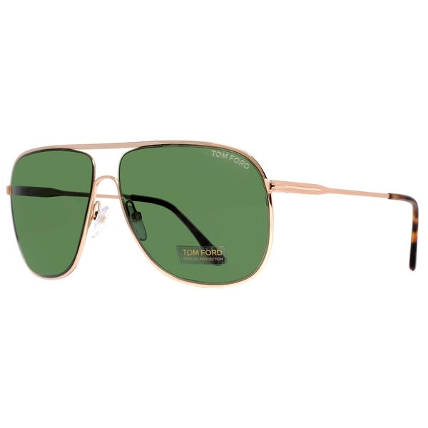 Tom Ford Dominic TF 451 28N Gold Havana/Green Men Aviator Sunglasses - gold havana - 60mm-11mm-140mm