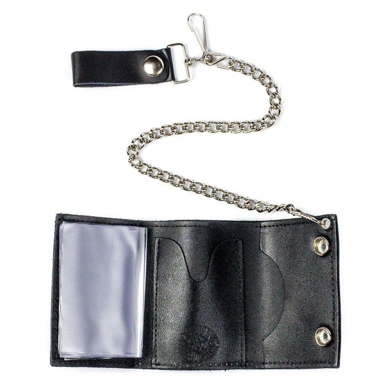 Men S Genuine Leather Bifold Chain Wallet Motorcycle Trucker Biker Black Wallet