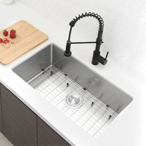 """32""""L x 18""""W Stainless Steel Single Basin Undermount Kitchen Sink with Grid and Strainer"""
