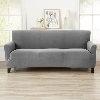 Link to Great Bay Home Knitted Jacquard Stretch Sofa Slipcover Similar Items in Slipcovers & Furniture Covers