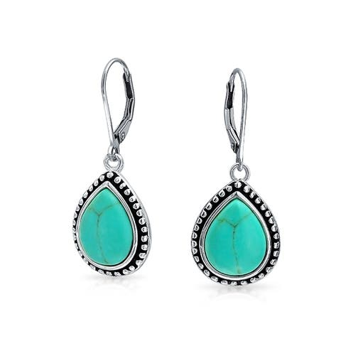 Bali Style Compressed Turquoise Framed Pear Shaped Teardrop Leverback Dangle Earrings For Women Oxidized Sterling Silver