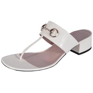 Gucci Women's 370460 Off White Patent Leather Horsebit Slides Shoes 39 9