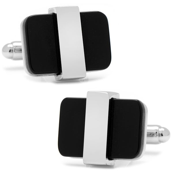 Silver Wrapped Onyx Cufflinks