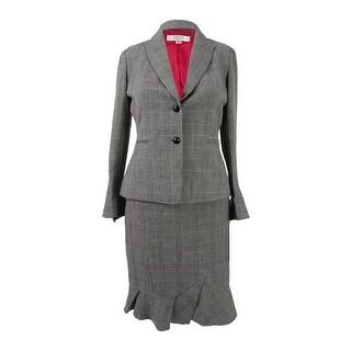 Tahari ASL Women's Petite Plaid Ruffled Skirt Suit (0P, Black/Grey/Red) - black/grey/red - 0p