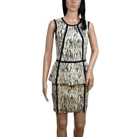 Parker Animal Print Peplum Dress Size 2