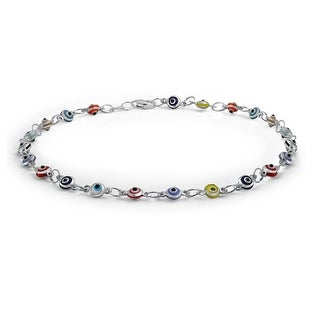 Bling Jewelry Multi Color Anklet Sterling Silver Evil Eye Ankle Bracelet 10in On Free Shipping Orders Over 45 17954965