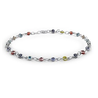 Bling Jewelry Multi Color Anklet Sterling Silver Evil Eye Ankle Bracelet 10in