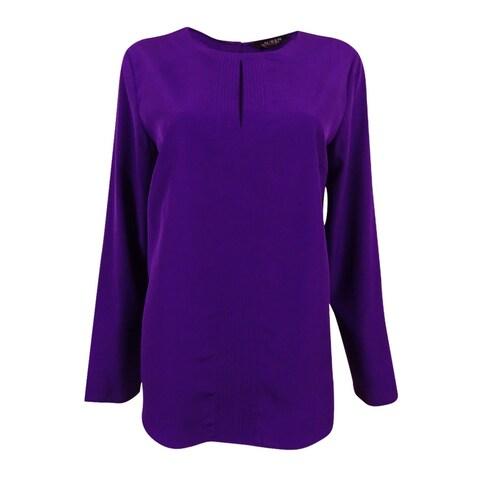 Lauren Ralph Lauren Women's Crepe Keyhole Blouse (Purple, M) - Purple - M