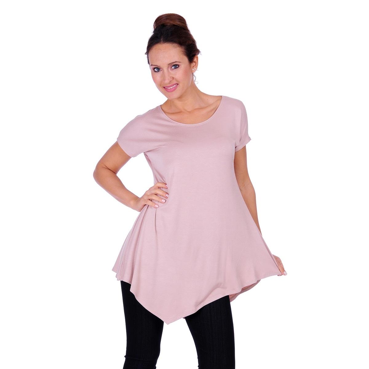 Simply Ravishing Women's Assymetrical Front/Back Handkerchief Hem Sleeveless Tunic Top - Thumbnail 12