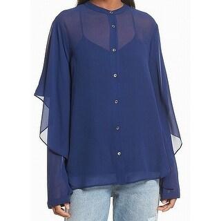 Robert Rodriguez Blue Overlay Draped Chiffon Womens 10 Blouse Silk