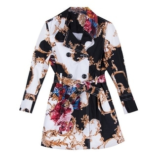 Richie House Little Girls Black Floral Patterned Belted Trench Coat 2-6