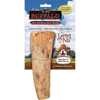"""Loving Pets Pure Buffalo 6-8"""" Horn core for Dogs (1 Pack), Medium/Large"""
