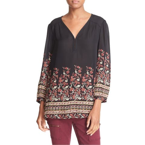 Joie Black Caviar Printed Women's Size XS V-Neck Silk Blouse