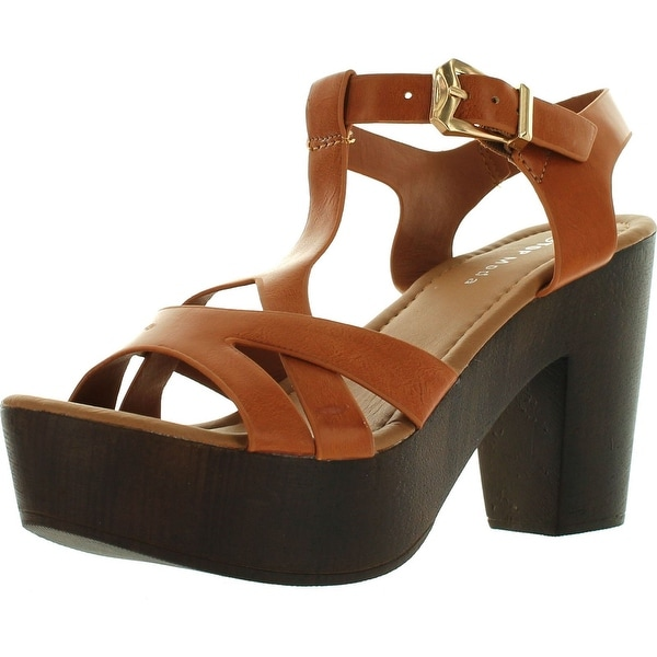 Top Moda Womens Pony-9 T-Strap Faux Wooden Platform Chunky Heel Sandals - Tan - 10 b(m) us