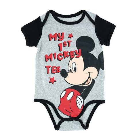 Jerry Leigh Infant My First Mickey Mouse Short Sleeve Onesie - Grey