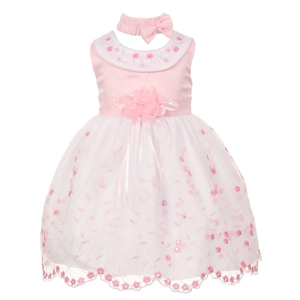 20503059c Baby Girls Pink White Floral Jeweled Easter Flower Girl Bubble Dress 3-24M