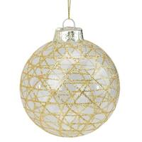 "3.75"" Gold and Clear Geometric Diamond Glass Christmas Ball Ornament"