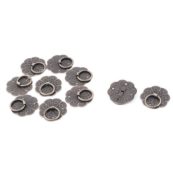 Unique Bargains 29mm Dia Cabinet Drawer Metal Round Ring Pull Handle Hardware Bronze Tone 10pcs - 29 x 5 mm