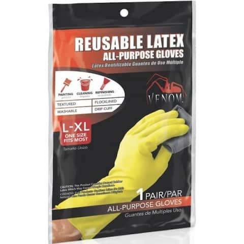 Medline VEN9125 Venom Reusable Latex All-Purpose Gloves, Large/XL