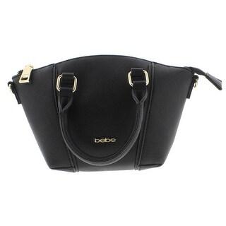 Bebe Womens Nadia Satchel Handbag Faux Leather Convertible - small