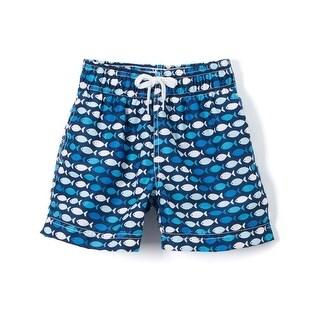 Azul Boys Blue Go Fish Allover Print Drawstring Waist Swim Shorts