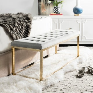 """Link to Safavieh Reynolds Grey/ Brass Glam Bench - 48"""" x 18"""" x 19"""" Similar Items in Living Room Furniture"""