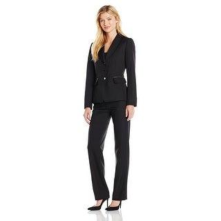 Tahari ASL Pinstripe Zip-Pocket Long Sleeve Jacket Pant Suit Black/White